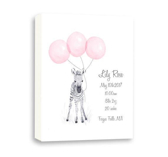 Baby Zebra Watercolor Art Canvas, Pink And Gray Nursery Art, Grandaughter Gift, Custom Birth Stats Z 1003C