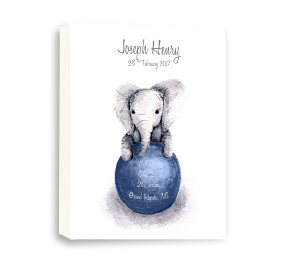 Gallery Wrapped Canvas Gift for Baby Boy In Navy, Watercolor Baby Elephant, EB1004C