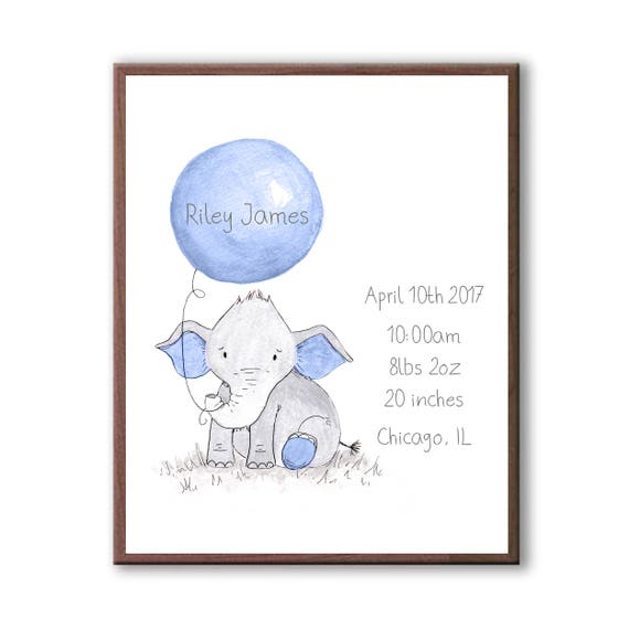 Birth Stat Gift, Watercolor Baby Elephant Art, Gift For Baby, Personalized Birth Stat Gift, Grandson Gift EBE1005