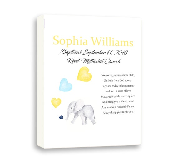 Personalized Baptism Gift For Baptism, Baby Elephant Gift For Christening, Baby Art For Baby Girls