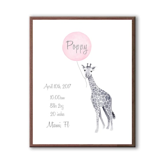 Personalized Baby Girl Birth Stat, Watercolor Giraffe Art Print For Baby Shower G 1007
