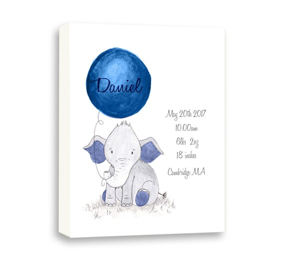 New Baby Boy Birth Stat Gift, Baby Art Gift From Godparents, Watercolor Baby Elephant in Navy, EBE1003C