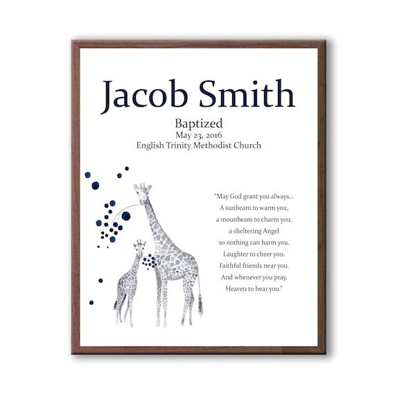 Baby Dedication Art, Art For Baby Boy, Christening Art For Godchild, Godparents Gift