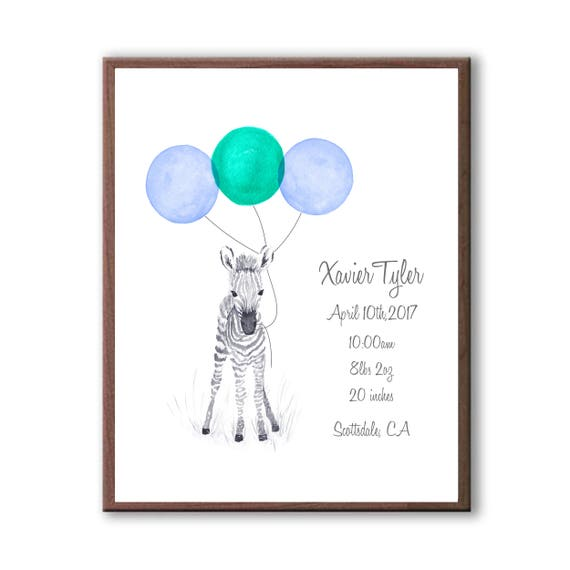 Watercolor Zebra Baby Birth Stat, Grandparent Gift For Grandson, Custom Baby Gift Z1002