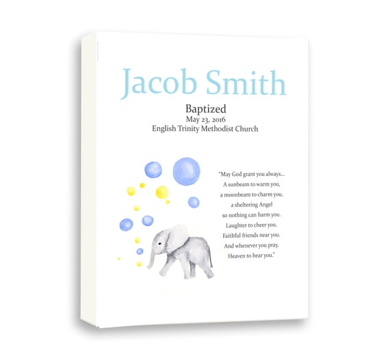 Personalized Baptism Gift For Godson - Custom Christening - Newborn Naming Day Art Gift - Baby Elephant