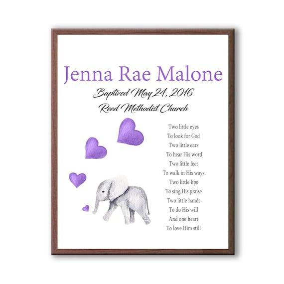Gift For Godchild Girl, Baptism Art Gift, Baby Elephant Baptism Art Gift, Baby Girl Baptism, Art For Christening