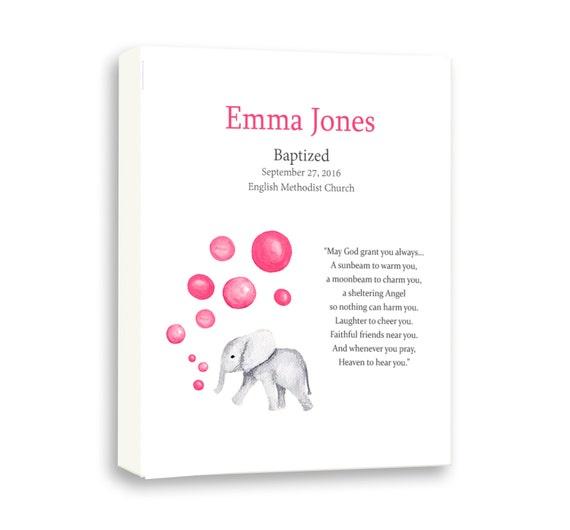Baby Girl Baptism Gift, Baby Elephant, Christening Art For Kids, Gift From Godparents, Animal Art