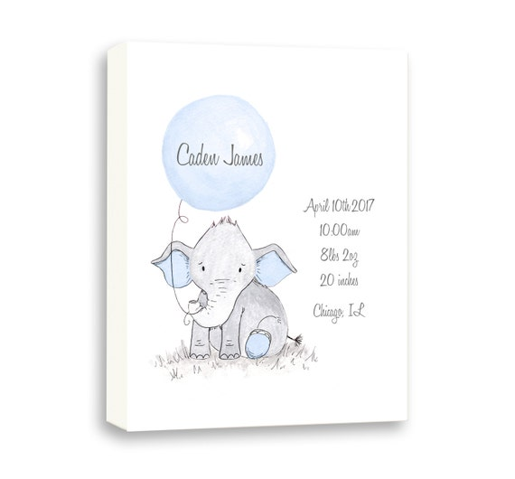 Art For Baby Boy Birth Stat Gift, Birth Stat Gift From Godparents, Watercolor Canvas Baby Blue Elephant Gift, EBE1002C