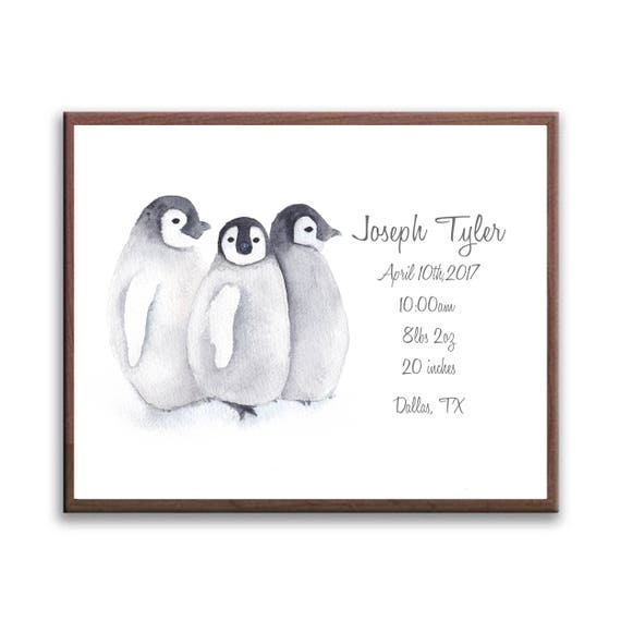 Watercolor Baby Birth Stat For Your Nursery, Grandparent Gift, Penguin Print, Personalized Gift for your Baby P1001