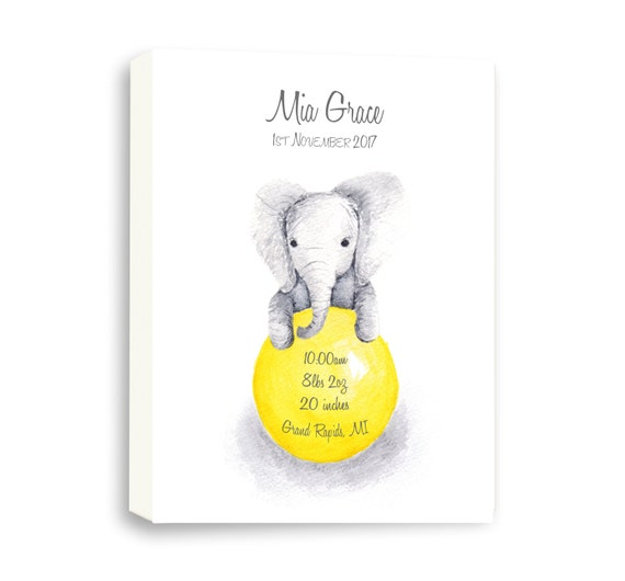 Baby Elephant Canvas Birth Stat for Baby Girl, Watercolor Baby Girl Gift, Custom Birth Stat, EB1005C