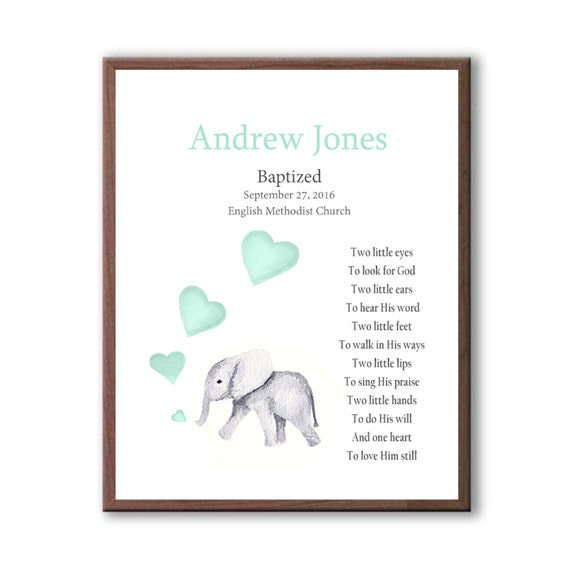 Cute Watercolor Elephant For Baby Boy Baptism, Personalized Christening Gift For Godchild