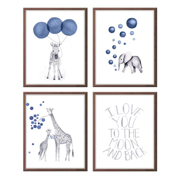 Animal nursery Art, Set of 4 prints, Elephant art, Safari art, Navy and Gray