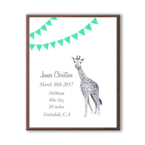 NewBorn Birth Stats, Watercolor Art, Baby Giraffe, Color Marine, Personalized Birth Stat, Art Print, G1005