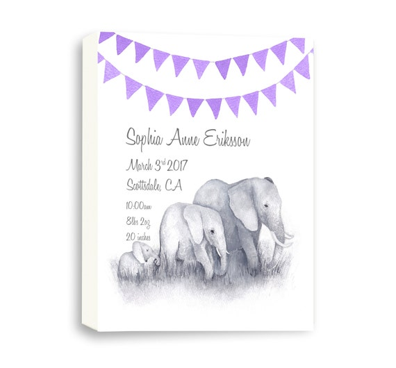 Custom Gallery Wrapped Canvas For Newborn, Watercolor Elephant Art For New Baby, Nursery Art Gift, E1006C