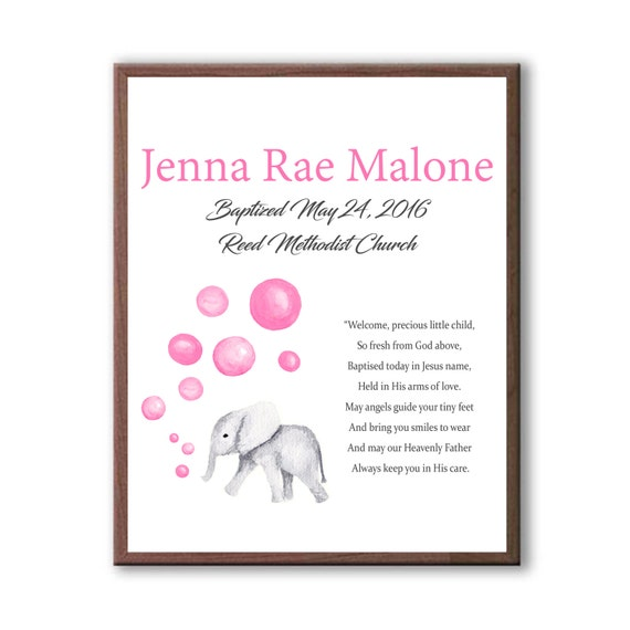Christening Art Gift From Godparents, Dedication Day, Naming Day Art, Pink Baby Elephant