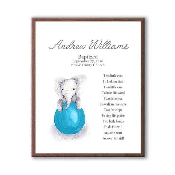 Baby Elephant Baptism Art, Baptism Art Gift From Godparents, Gift For Godchild, Baby Blue Dedication