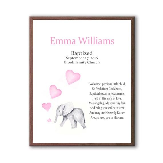 Baby Girl Wall Art, Baptism Gift For Goddaughter, Baby Elephant, Christening Art For Children