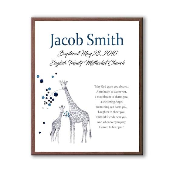 Baptism Gifts For Godchild Boy, Baptism Boy Dedication Day Art Gift, Giraffe Baby Giraffe