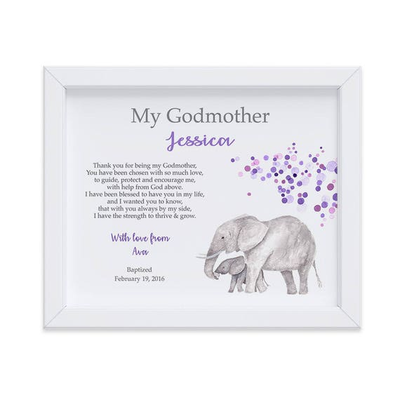 Personalized Godmother Gift from Goddaughter, Elephant Art Print for Godparents, Godmother Baptism Gift