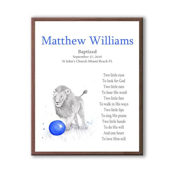 Boys Baptism Gift, Lion Baptism Art, Personalized Baptism Decor, Animal Baptism Art