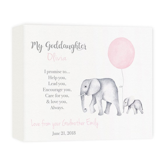 Goddaughter Canvas Gift, Customized Baptism Gift from Godmother, Gift from Godparents, Christening Gift, Gift for Goddaughter