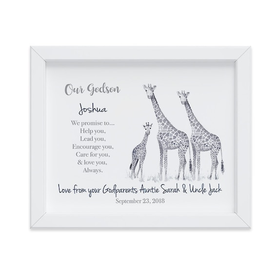 Personalized Baptism Gift for Godson, Christening Gift, Godson Baptism Gift, Gift from Godparents, Watercolor Giraffes