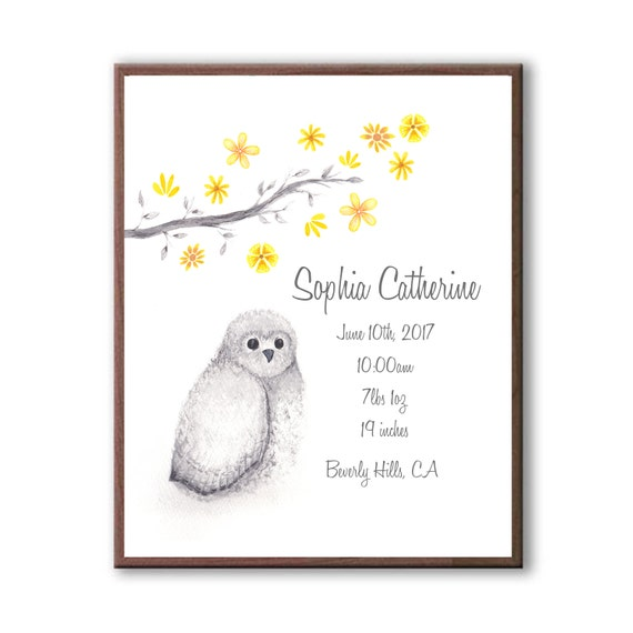 Customized Watercolor Owl Baby Birth Stat Gift, Newborn Birth Stat Gift From Godparents, Baby Owl Art Print For Nursery, O1004