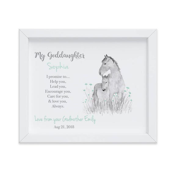 Personalized Horse Art Print for Goddaughter, Godmother Gift, Goddaughter Gift, Christening Gift