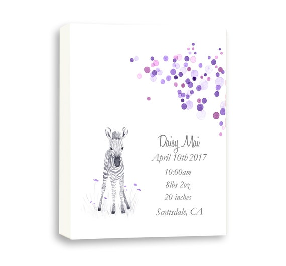 Canvas Birth Stat Art, Baby Zebra Art Gift From Godparents, Watercolor Baby Birth Stats, Purple, Z1006C