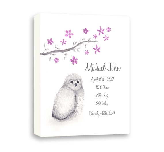 Watercolor Baby owl Art Gift For Godson, Custom Birth Stats On Canvas, Gallery Wrapped Canvas, O1002C