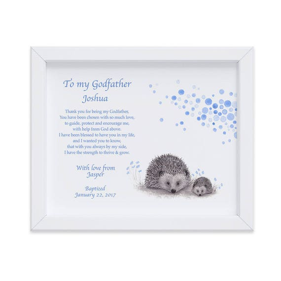 Personalized Baptism Hedgehog Art Print for Godfather, Thank You Gift from Godson, Godparent Gift