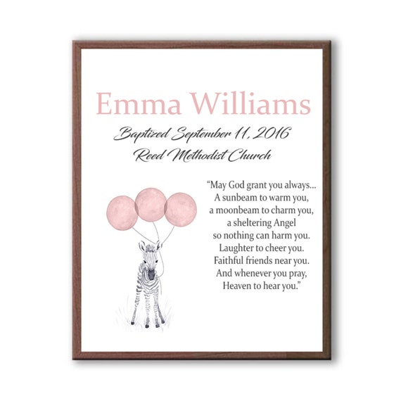 Custom Dedication Day Gift - Baby Girl Goddaughter Baptism Gift From Godparents - Baby Zebra Watercolor