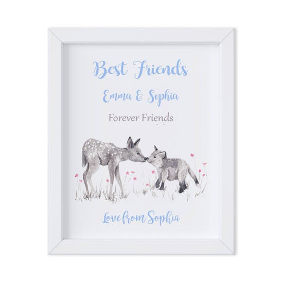 Best Friend Gift for Husband at Christmas, Watercolor Art Print for Bestie, Friendship Gift
