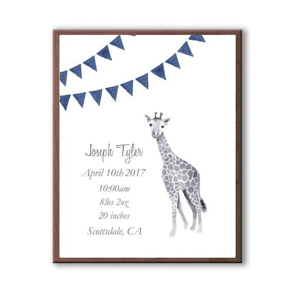 Baby Boy Personalized Birth Stats, Baby Giraffe Birth Stat, New Birth Announcement, Baby Shower Gift, Navy, G1002