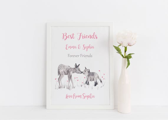 Personalized Best Friend Gift for Christmas, Bestie Gift, Friendship Print, Favorite Friend Wall Art.