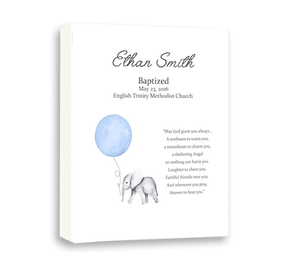 Baby Elephant Watercolor Art, Baby Blue Baptism Art For Baby Boys, Godson Baptism, Baby Baptism Gift From Godparents