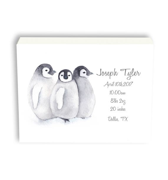 Personalized Baby Birth Stat, Penguin Canvas Gift For Baby, Gift From Grandma, Watercolor Art Gift P1001C