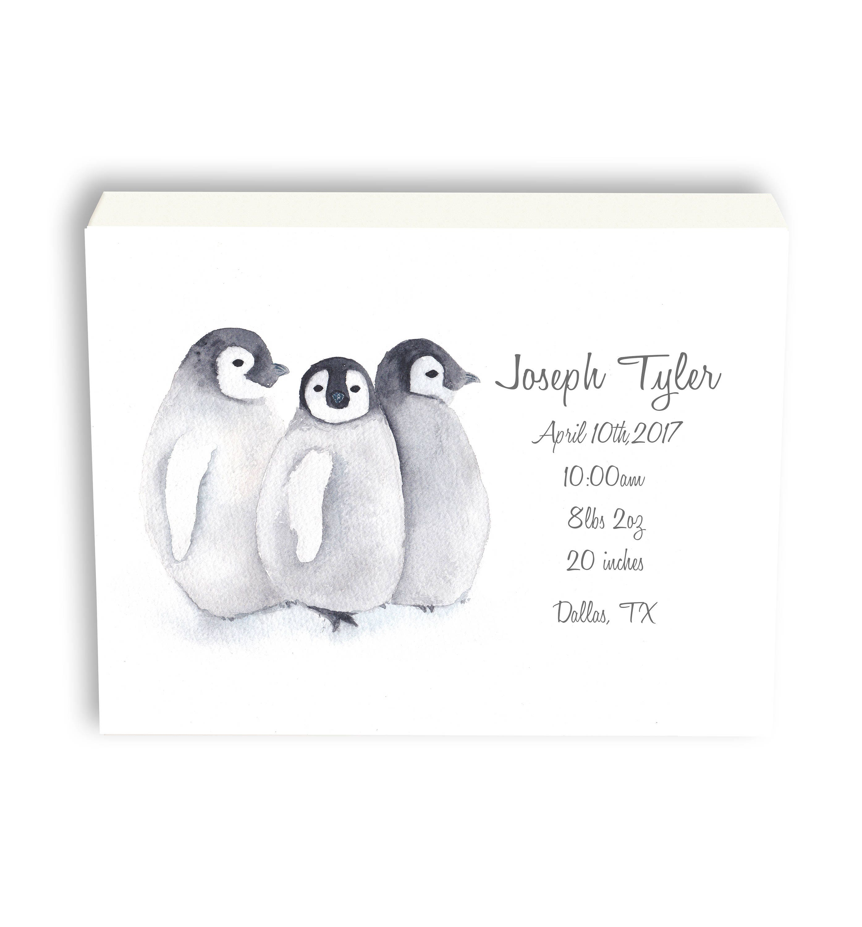 Personalized baby birth stat penguin canvas gift for baby gift personalized baby birth stat penguin canvas gift for baby gift from grandma watercolor art gift p1001c negle Gallery