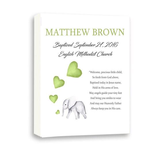 Art For Baby Baptism, Baby Elephant Art For Christening, Art For Godson From Godparents