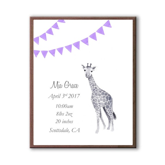 Birth Announcement,  Personalized Birth Stat, Baby Giraffe, Watercolor, Baby Shower Gift, G1003
