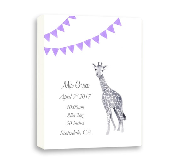 Gallery Wrapped Canvas, Birth Announcement for Newborn In Any Color, Baby Gift Ideas, G1003C