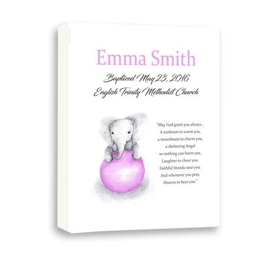 Godparents Gift For Goddaughter, Baby Elephant Baptism Art, Art For Baby Girl, Baby Poem