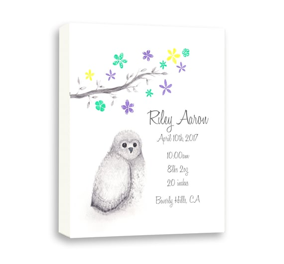 Custom Baby Birth Stats, Watercolor Cute Owl On Wrapped Canvas, Baby Birth Stats Gift From Godparents, O1003C