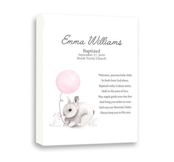 Goddaughter Baptism Gift, Dedication Day Gift For Girl, Baby Rabbit Art For Girl, Naming Day Ceremony
