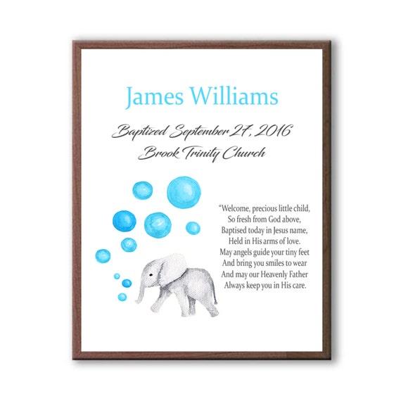 Baby Christening Art Gift, Art From Godparents, Godson Baptism Art Gift, Baby Elephant Art Decor