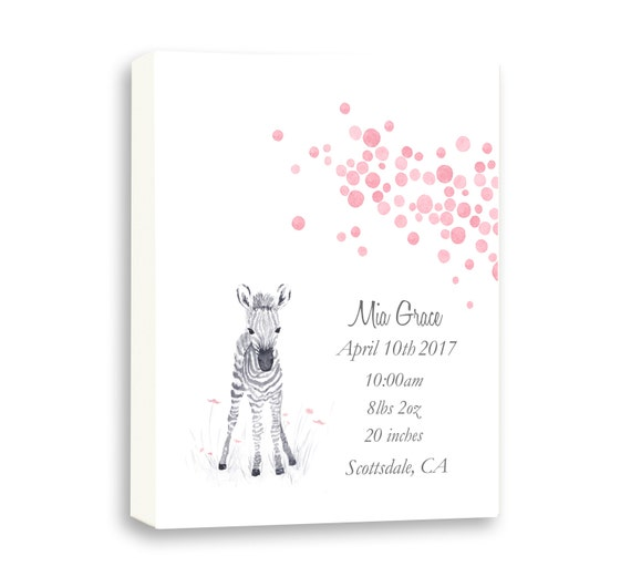 Watercolor Baby Girl Birth Stat, Gallery Wrapped Canvas For Baby Girl, Baby Zebra Canvas Art, Gift From Godparents, Z1004C