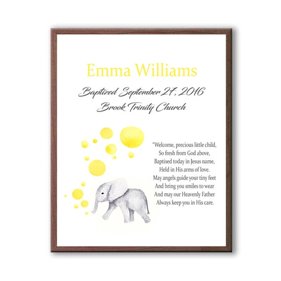 Baby Baptism Art Gift, Gift From Godparents For Godchild Dedication Day, Baby Elephant Art Gift