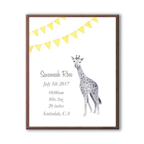 Personalized Baby Birth Stats, Watercolor Giraffe Print, Banana, Newborn Birth Stats, Nursery Art, G1006