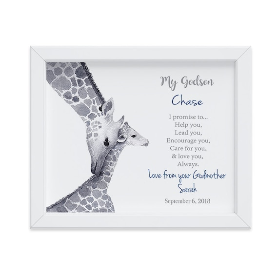 Personalized Christening Gift for Godson, Baptism Gift, Godson Baptism Gift, Gift from Godmother, Gift from Godparents, Watercolor Giraffes