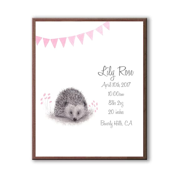 Watercolor Hedgehog Birth Stat Print, Pink And Gray, Woodland Nursery Art Print For Baby Girl H1001